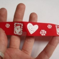 Christmas Ribbon 2.3cm Wide Grosgrain Heart