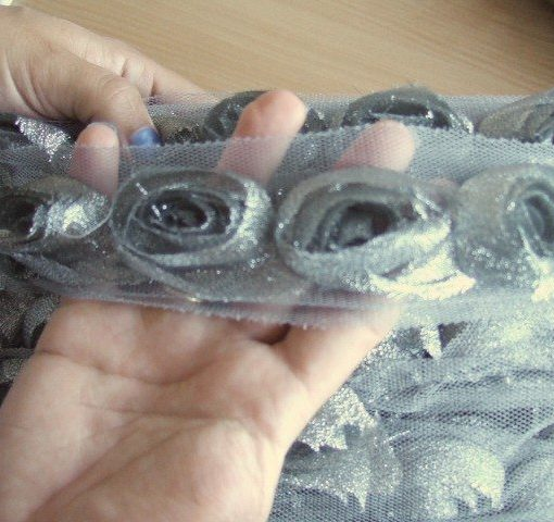Antique Silver Chiffon Rose Trim