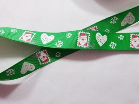 "Christmas Ribbon 1"" Wide Christmas Stamps Green"