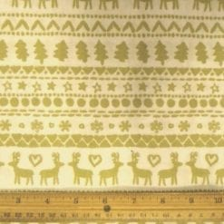 Polyester Cotton Christmas Reindeer Star beige
