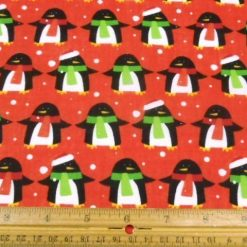 Dancing Penguins Red Christmas Polycotton