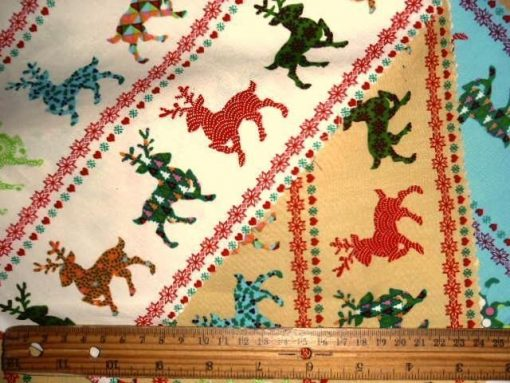 Cotton Christmas Fabric Funky Reindeers
