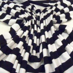 Black and White Humbug Stripe Jersey Fabric