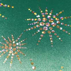 Jade Snowflakes Foil Jersey Fabric