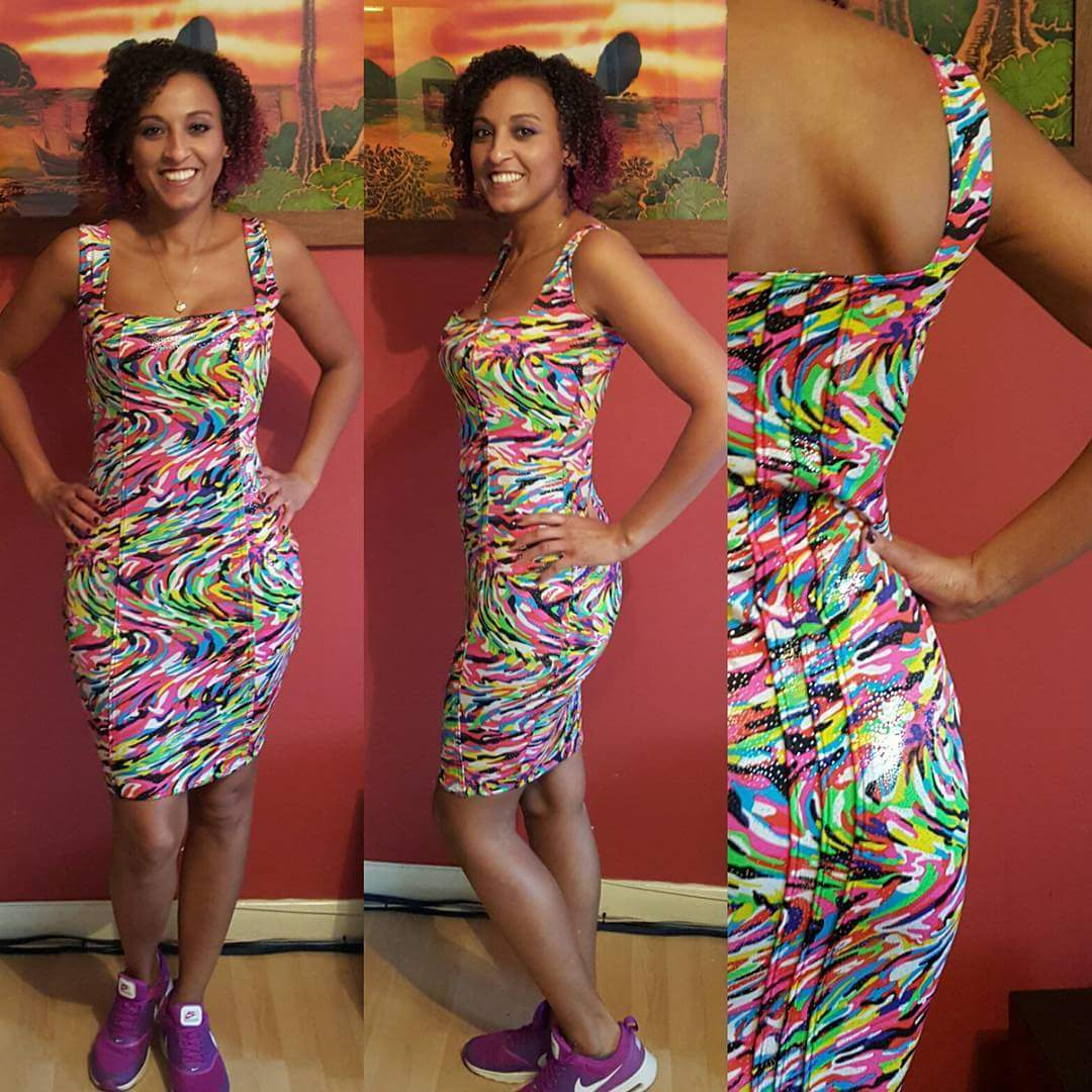 Rainbow Bodycon Dress made with Lycra Fabrics