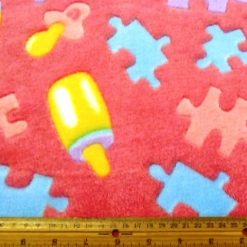 Pink Jigsaw Huggable Fleece Fabric