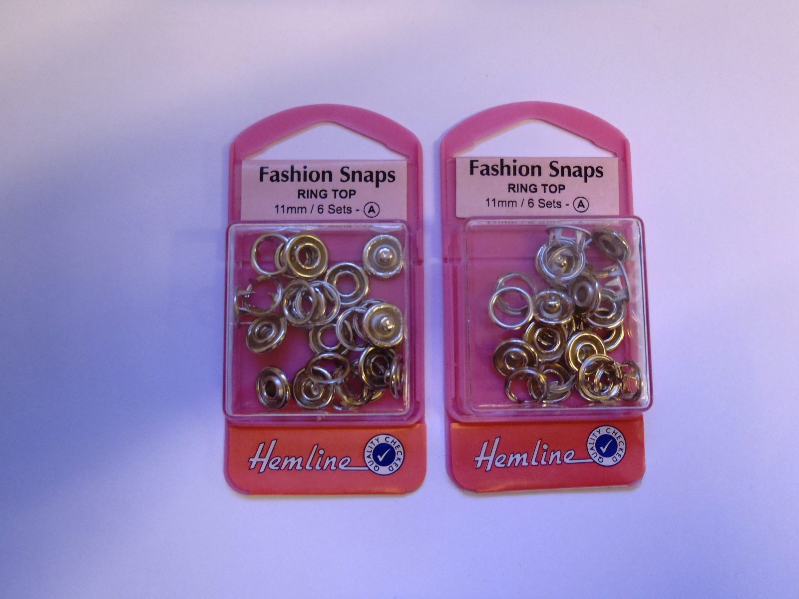 Hemline Gold Ring Top 11mm 6 Sets Fashion Snaps