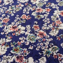 Navy Abstract Flower Viscose Fabric