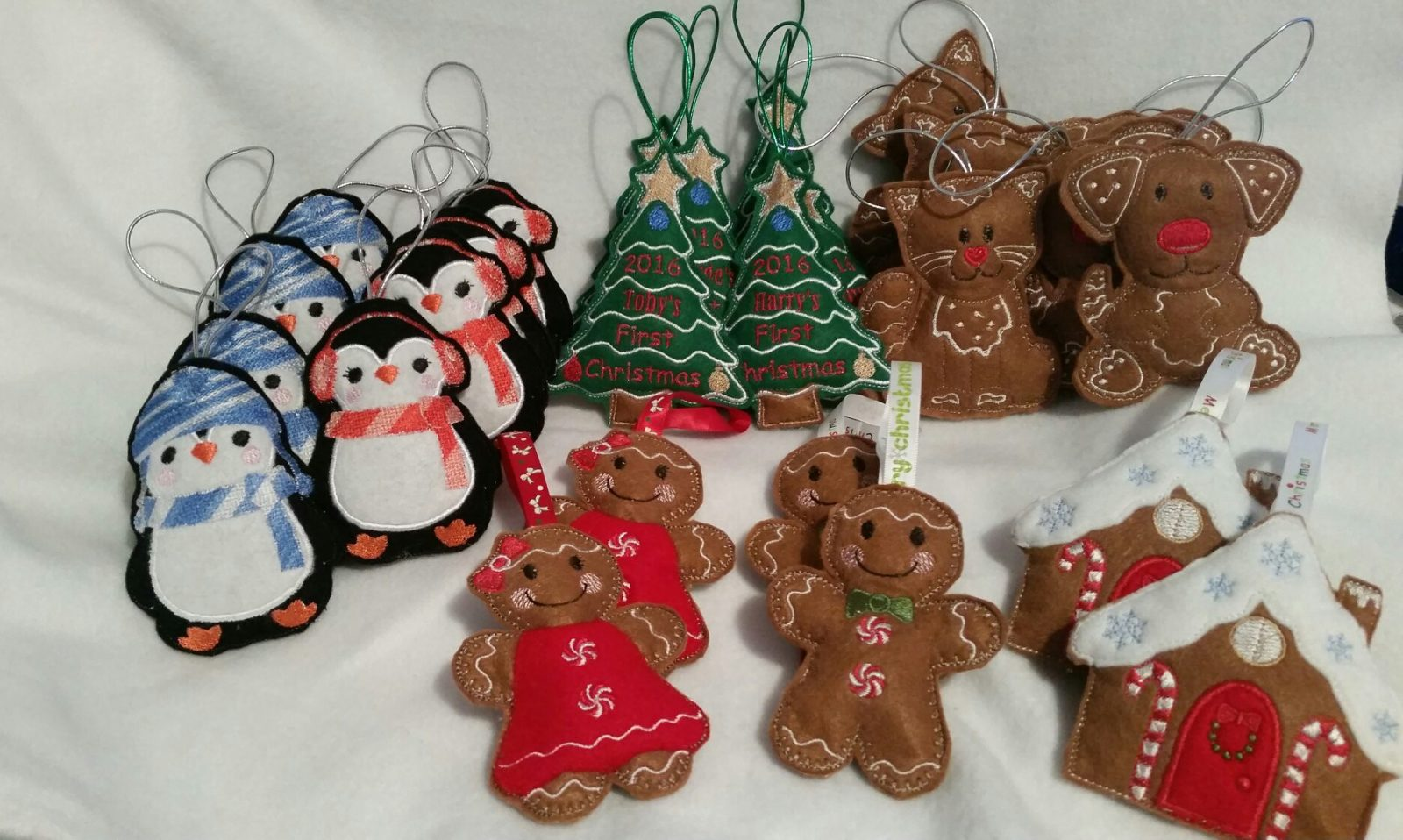 Gingerbread Family Tree Decorations made with Felt Fabrics