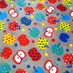 Apples Grey Huggable Fleece Fabric