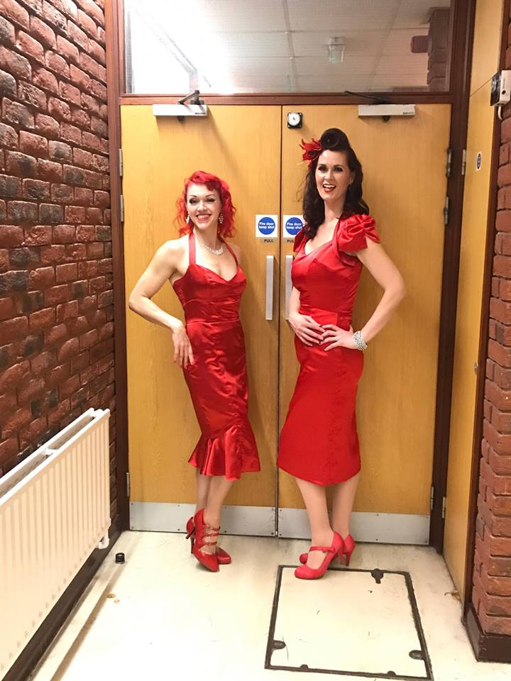 Red satin dresses made with Dress Patterns