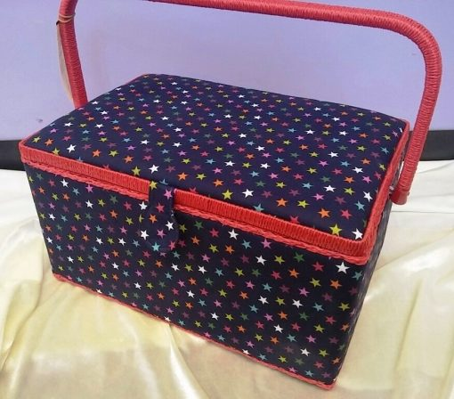 Star Print Large Sewing Box