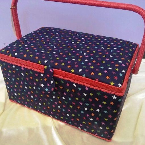 Star Print Large Sewing Box