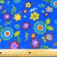 Turquoise Spring Flower Patterned Polar Fleece Fabric