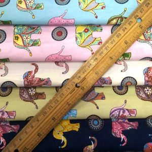 Karma Elephants Printed Cotton Fabric