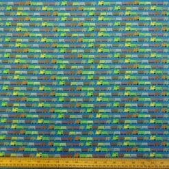 Blue Train Choo Choo cotton fabric