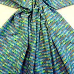 Blue Train Choo Choo cotton fabric