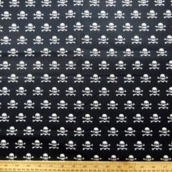 Cotton Fabric Mini Skulls Black