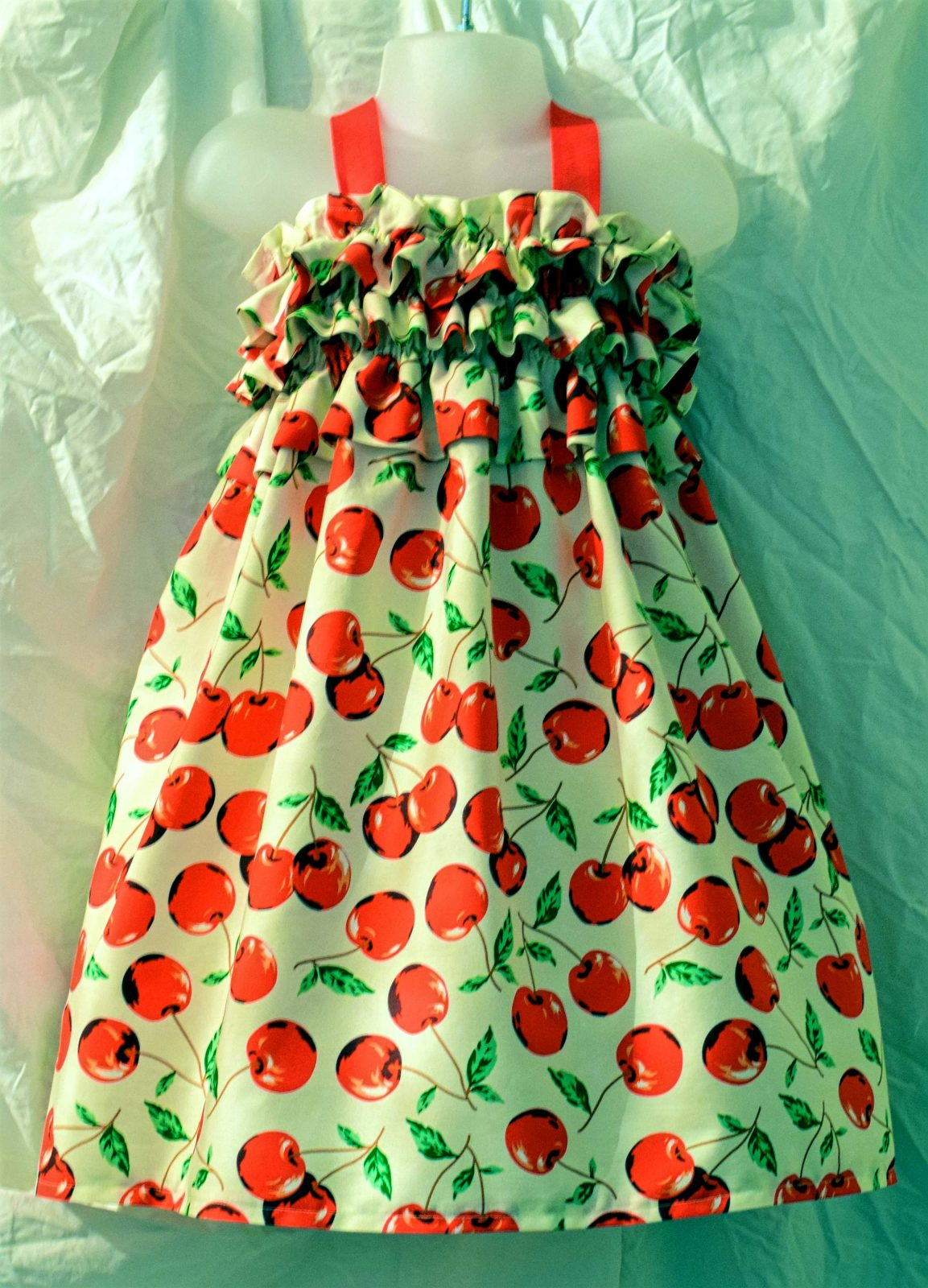 Bowl of Cherries Dress made with printed fabrics