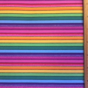 Cotton Printed Fabric Happy Stripe Rainbow