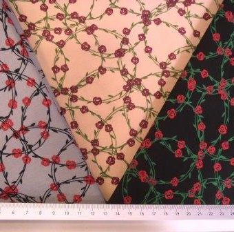 Cotton Fabric Chinese Ring Of Roses