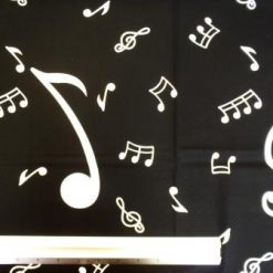 Cotton Fabric Music White Notes On Black