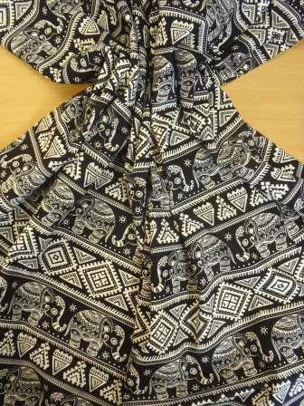 Cotton Printed Fabric Titi Caca Elephants black/ivory