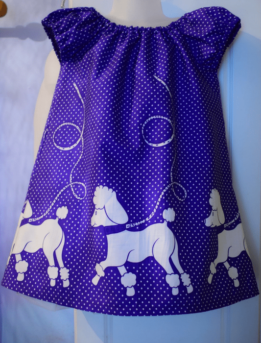 Purple Poodles Dress made with Printed Cotton Fabric