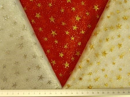 Organdie Fabric Stars with Glitter