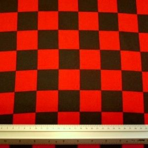 Satin Fabric Spanish Harlequin Black/Red Checkers