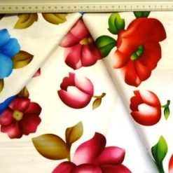 Stretch Cotton Sateen Fabric Floral Basic Blooms