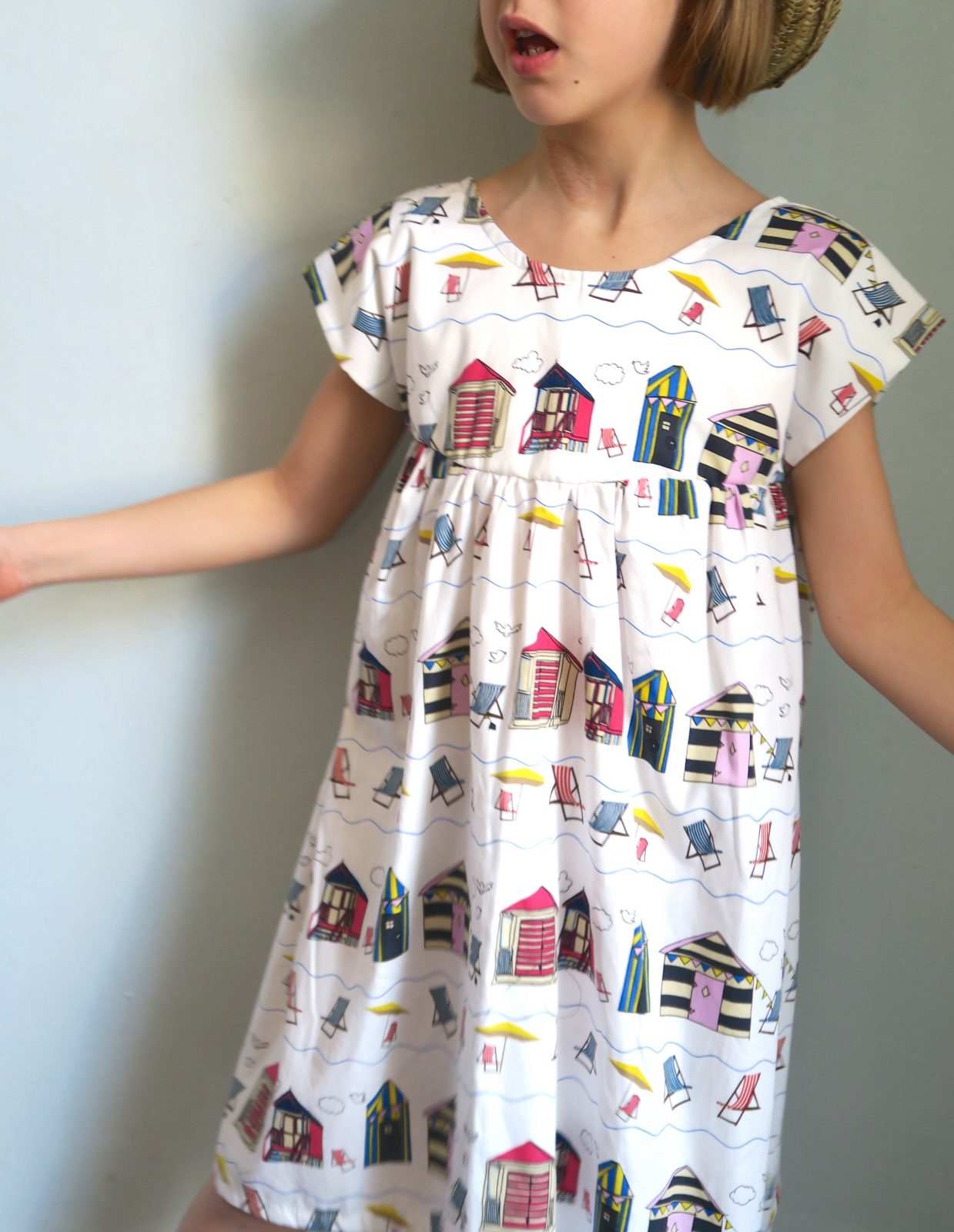 Beach Hut Dress made with Printed Cotton
