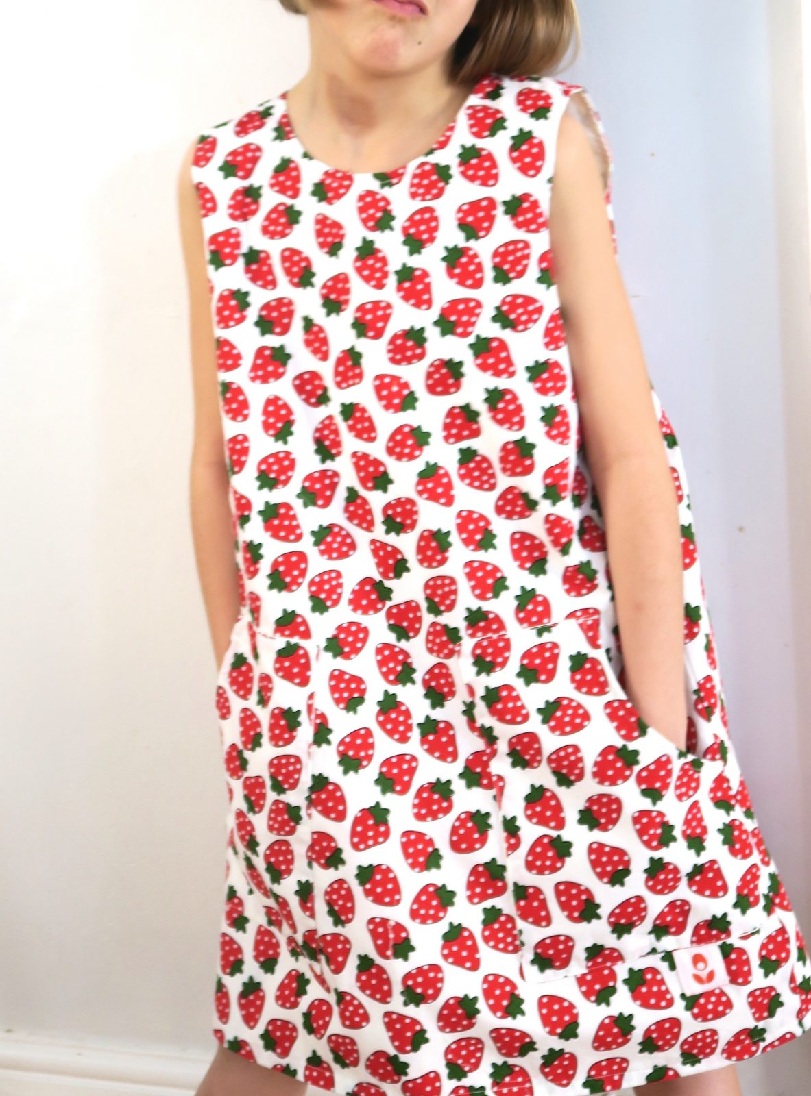 Strawberry Pinafore With Pockets made with Printed Cotton