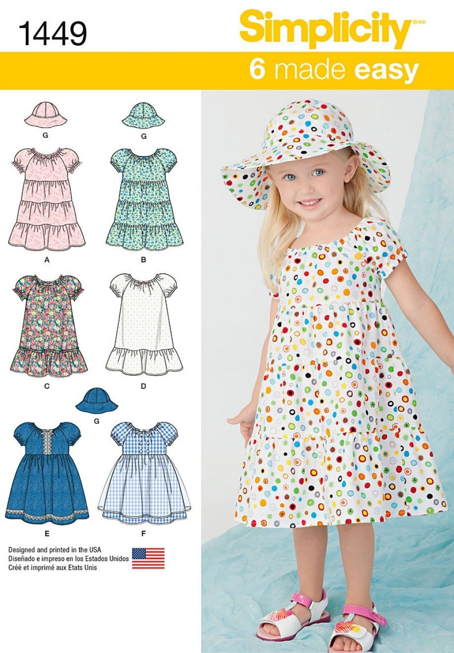 Simplicity children 39 s sewing pattern 1449 fabric land for Children s material sewing