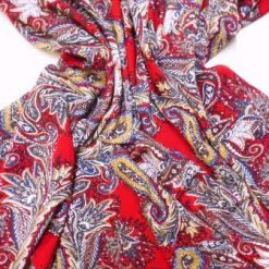 paisley red tulip viscose