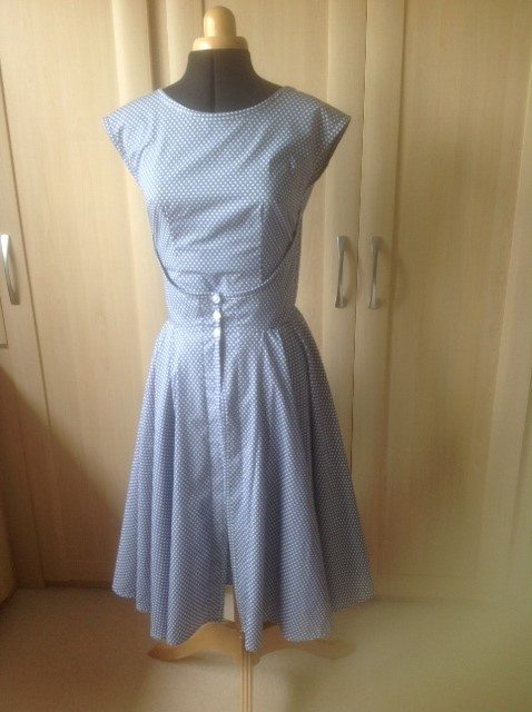 Spotted Retro Walkaway Dressmade with Fabric Patterns
