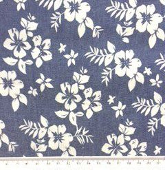 indigo Cotton Chambrey Floral Flower