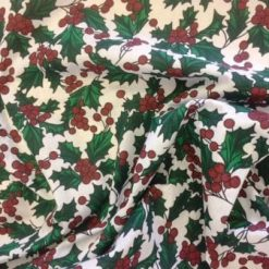 Christmas Fabric Polyester Cotton Holly Red Berries