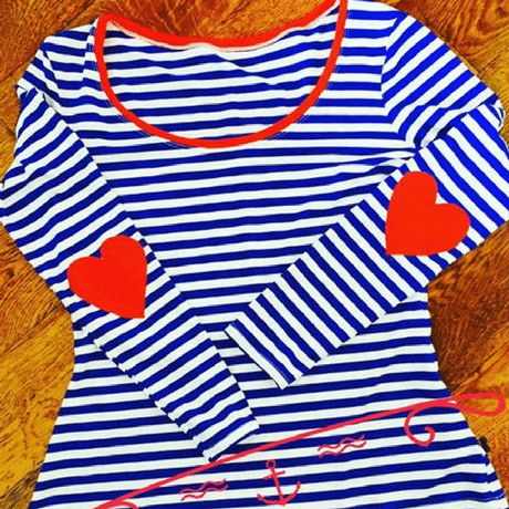 Stripey Top with Heart Elbow Patches made with Striped Fabric