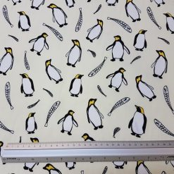 Cream Penguins Cotton Print