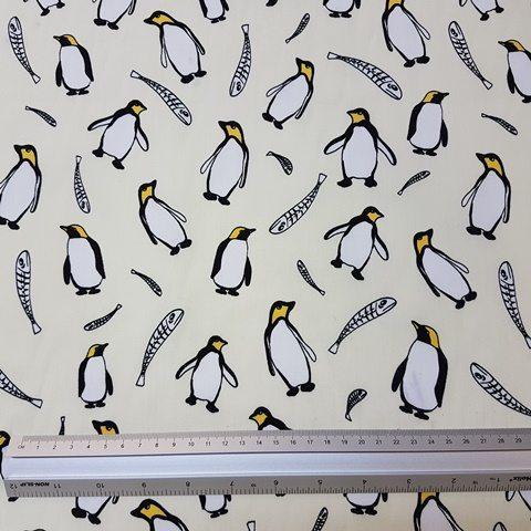 Cream Penguins Cotton Print