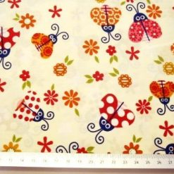 lady bugs ivory cotton