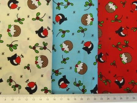 christmas robin cotton