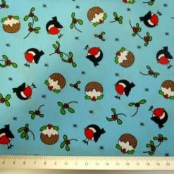 christmas robin cotton blue