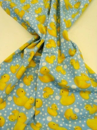 Printed Cotton Rubber Duckie Blue