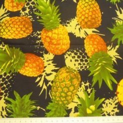 navy pineapples cotton
