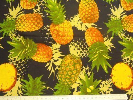 navy pineapples cotton