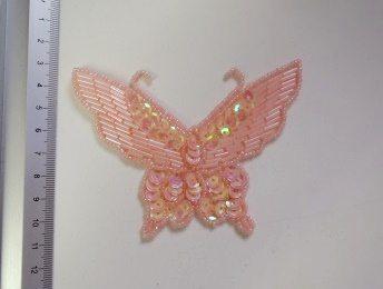 pink butterfly sequin motif