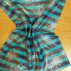 Lycra Fabric Navy and Jade Stripe
