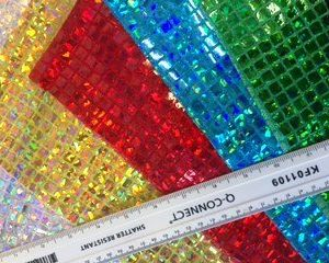 Lurex Jersey Hologram Fabric Squares Glass